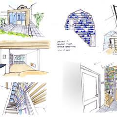 visualisatieschetsen interieur en exterieur: modern  door Obliq Architectuur, Modern