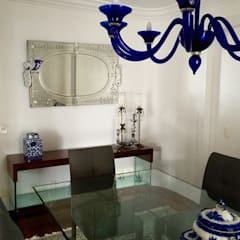 Apartamento clássico em São Paulo: Salas de jantar  por Kika Prata Arquitetura e Interiores.,