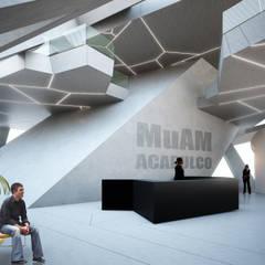 Muam : Salones de conferencias de estilo  por BNKR Arquitectura