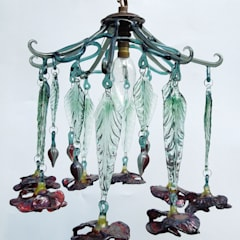 Poppy glass chandelier shade:  Corridor, hallway & stairs by A Flame with Desire