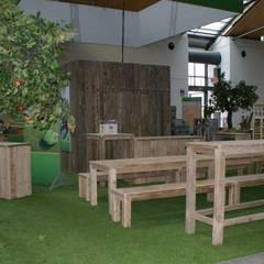 Messestand ZG Raiffeisen, Inventa Karlsruhe:  Messe Design von timberclassics  -  Bauholzmöbel - markant, edel, individuell