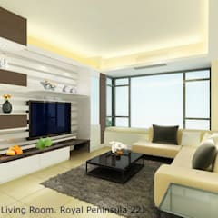 Royal Peninsula Residential Apartment:  Living room by Oui3 International Limited
