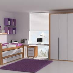 Cama elevada con cama nido extraíble y cajones inferiores : Habitaciones de niñas de estilo  de Sofás Camas Cruces