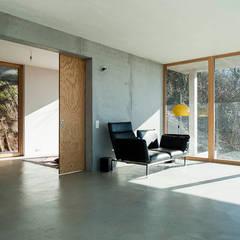 Wohnhaus am Hang, Wyhlen:  Wohnzimmer von GIAN SALIS ARCHITEKT