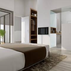 Perspectives 3D pour la commercialisation d'une maison individuelle : Chambre de style  par Vizion Studio