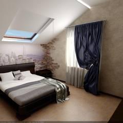 Спальня мансардная: Спальни в . Автор – Цунёв_Дизайн. Студия интерьерных решений., Эклектичный