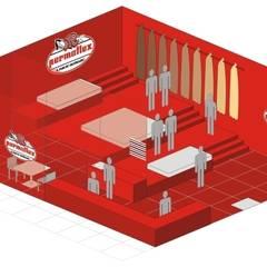 Permaflex punti vendita ed allestimenti progetto Claudio Bettini.: Allestimenti fieristici in stile  di bettini design