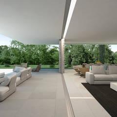 Vista del estar y terraza exterior: Casas de estilo  de Gallardo Llopis Arquitectos