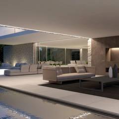 Vista del Porche cubierto: Casas de estilo minimalista de Gallardo Llopis Arquitectos