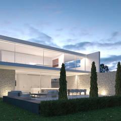 Vista del alzado trasero y la cocina : Casas de estilo  de Gallardo Llopis Arquitectos