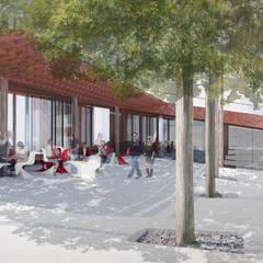 Vue de la place: Centre d'expositions de style  par Wen Qian ZHU Architecture, Moderne