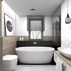 Baños de estilo escandinavo por BAGUA Pracownia Architektury Wnętrz