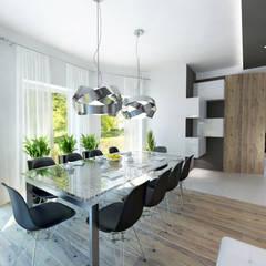 Projekt domu w stylu nowoczesnym: styl , w kategorii Jadalnia zaprojektowany przez iProjektowanieWnętrz