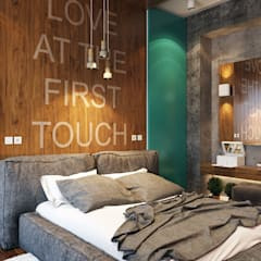 Квартира с ярким акцентом Спальня в стиле лофт от студия визуализации и дизайна интерьера '3dm2' Лофт