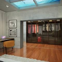 Privat Apartments in Novosibirsk:  Dressing room by EVGENY BELYAEV DESIGN