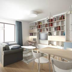 Mieszkanie w Warszawie: styl , w kategorii Salon zaprojektowany przez Kamińska Stańczak
