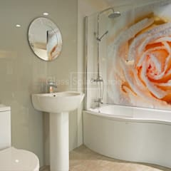 Stunning Photographic Rose Glass Bathroom Splashback:  Bathroom by DIYSPLASHBACKS