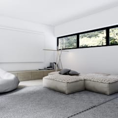 DOM W LUXEMBURGU: styl , w kategorii Pokój multimedialny zaprojektowany przez KUOO ARCHITECTS
