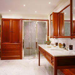 Chelsea Mahogany Bathroom designed and made by Tim Wood:  Bathroom by Tim Wood Limited