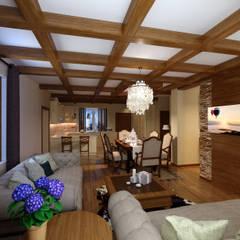 домик в стиле шале: Гостиная в . Автор – Дизайн студия Асфандияровой Лилии