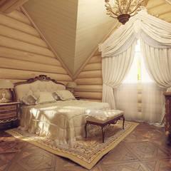 Деревянный дом для отдыха. Tutto design Спальня в классическом стиле
