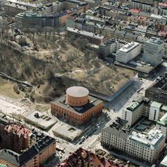 vue aerienne du projet en extension du jardin: Musées de style  par D3 architectes