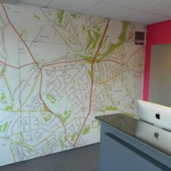 Custom Map wallpaper installed in an estate agency office:  Offices & stores by Wallpapered