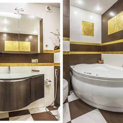 Уютная квартира в теплых  тонах: Ванные комнаты в . Автор – Ольга Макарова (Экодизайн) ,