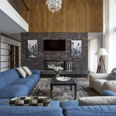 غرفة المعيشة تنفيذ ALEXANDER ZHIDKOV ARCHITECT