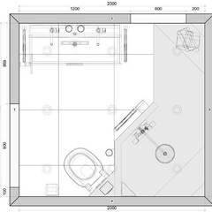 Plattegrond kleine badkamer met inloopdouche van 200x 185cm:  Badkamer door Sani-bouw