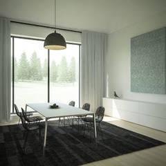 Dom z widokiem na Beskidy Minimalistyczna jadalnia od 3XEL Biuro projektowe Minimalistyczny
