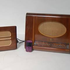 Vintage 1950s HMV Wooden Valve Radio Model 1122 &  1940s Stentorian Bristol Extension Wooden Speaker:  Living room by Retro Bazaar Ltd