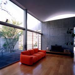 コートハウスのリビング: 土居建築工房が手掛けたリビングです。