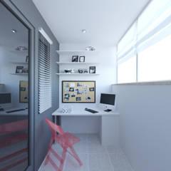 Скандинавия: визуализация современной квартиры : Tерраса в . Автор – OK Interior Design, Скандинавский