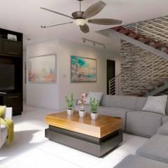 E2 Living Room: Salas de estilo  por arQing