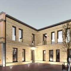 Visualisierung mit Fassade in Klinker:  Praxen von Lecke Architekten