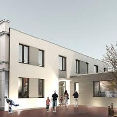 Visualisierung mit Fassade in Putz:  Praxen von Lecke Architekten