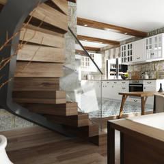 ROAS ARCHITECTURE 3D DESIGN – Stairs Detail:  tarz Oturma Odası