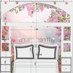 Разметка конструкции в изголовьи кровати, наложение изображения фрески от МайАрт: ремонт и дизайн помещений Классический
