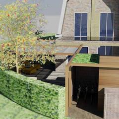 3D ontwerp van een achtertuin: rustieke & brocante Tuin door Bladgoud-tuinen