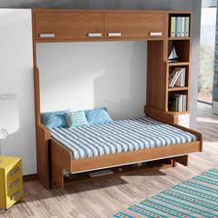 MUEBLE CAMA ABATIBLE CON ESCRITORIO, PARA CAMA DE MATRIMONIO: Dormitorios de estilo  de Muebles Parchis. Dormitorios Juveniles.
