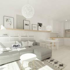 Skandynawskie biele i szarości. 4ma projekt Skandynawski salon
