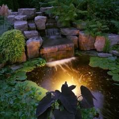 cascata  realizzata  in un  contesto  tropicale: Giardino in stile  di italiagiardini