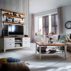 Białe meble z ciemnymi blatami Fado: styl , w kategorii Jadalnia zaprojektowany przez Seart