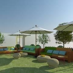 Zona de descanso y relax en el jardín: Locales gastronómicos de estilo  de Buena Pieza Interiorismo