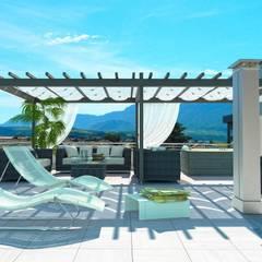 Sopraelevazione condominio KRISTALL: Terrazza in stile  di Grendene Design