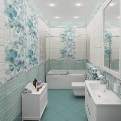 Санузел гостевой в загородном коттедже: Ванные комнаты в . Автор – Гурьянова Наталья, Модерн