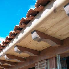 Elegante remate de alero con panel de madera.: Casas de estilo  de panelestudio