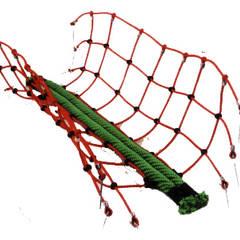 Balancierbrücke mit Zwillingslaufseil:  Schulen von Netz- und Tauwerk