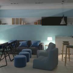 Sala multifuncional en vivienda adosada: Salas multimedia de estilo  de AG INTERIORISMO